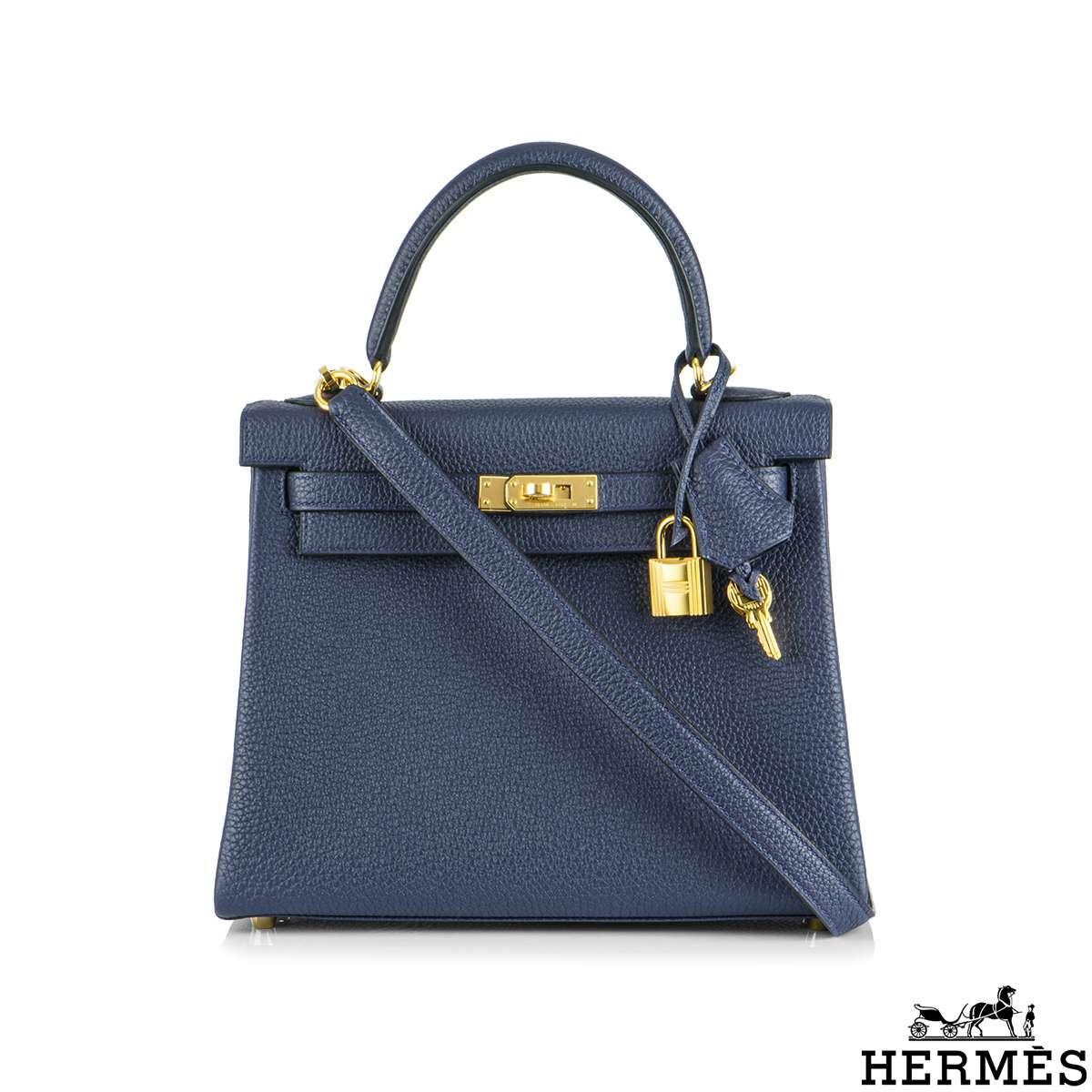 Hermès Kelly II Retourne 25cm Blue Nuit Togo GHW Handbag